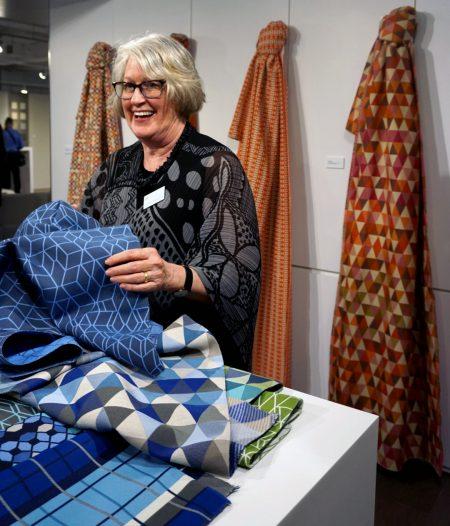Sina Pearson at Momentum showroom with Sunbrella fabrics