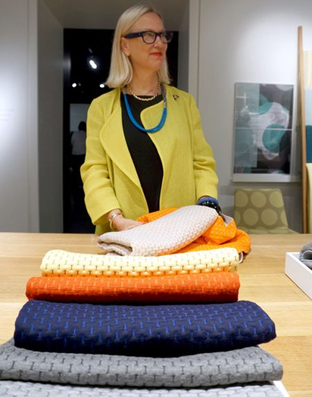 Designer Ghislaine Vinas with her new Sunbrella Contract fabrics at HBF