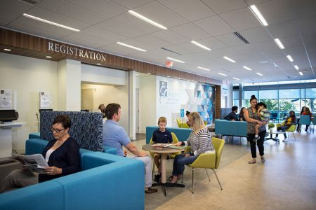 Conversation areas in healthcare waiting room