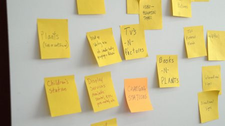 sticky notes with suggestions