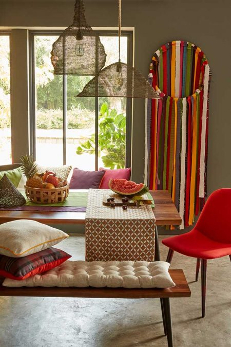 Dining room with red accents