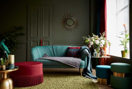 Teal sofa with red ottoman