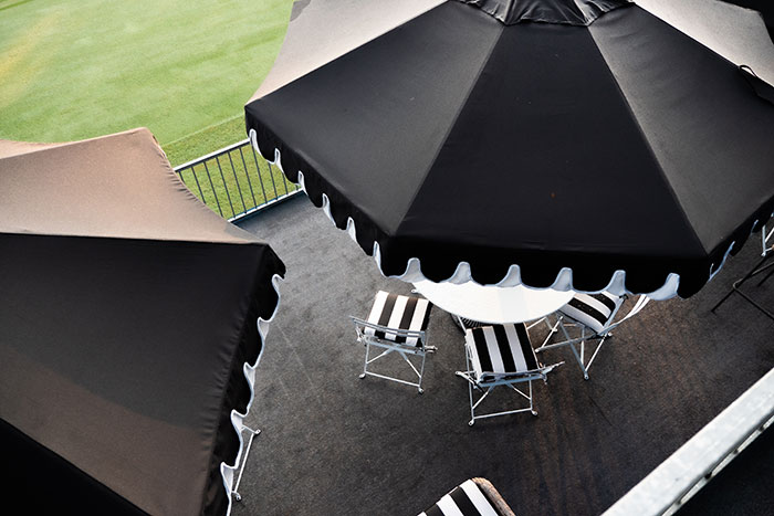 black umbrella with Sunbrella fabric