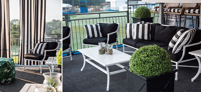 outdoor furniture with black and white Sunbrella fabric