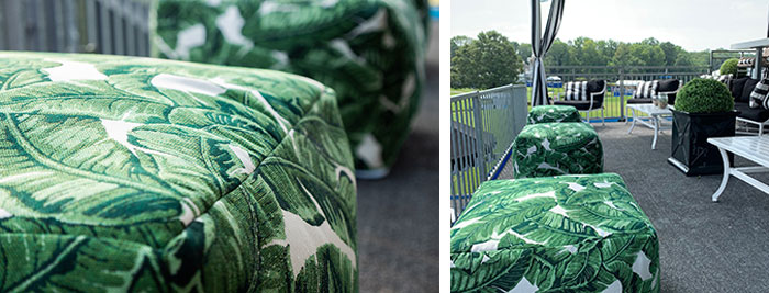 Outdoor pouffs with green leaf pattern