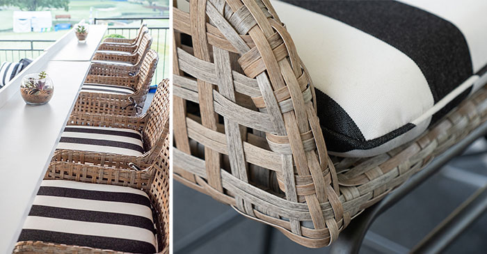 stadium seating with Sunbrella fabric
