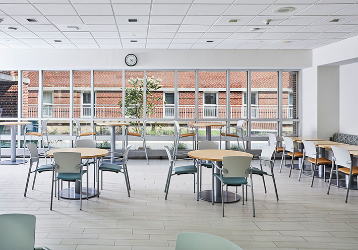 Dining tables and chairs in hospital