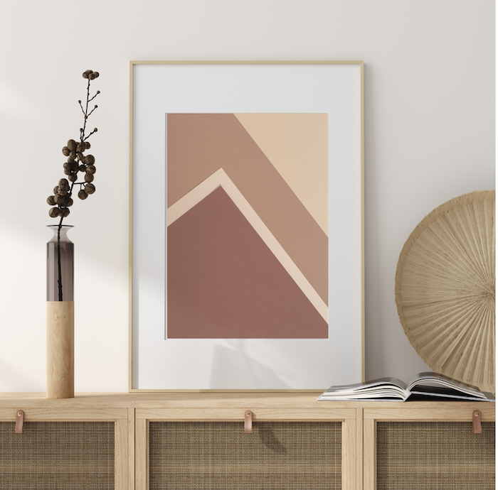 Minimalistic and modern art print in natural wooden frame for bohemian interior décor