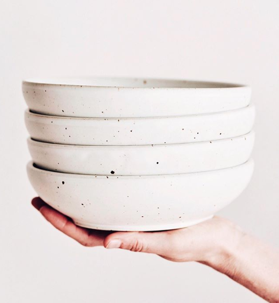 Modern stoneware bowls enhance a minimal boho style with natural elements