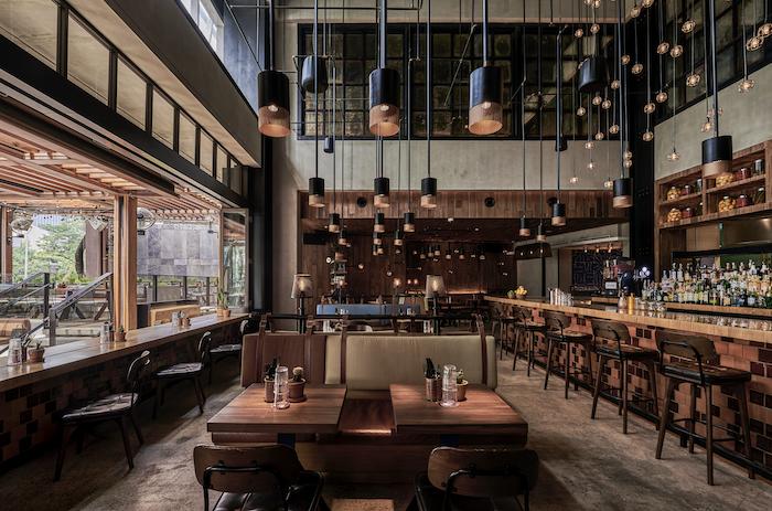Restaurant at the Alila SCBD Jakarta featuring Sunbrella Contract fabrics in this hotel interior design.