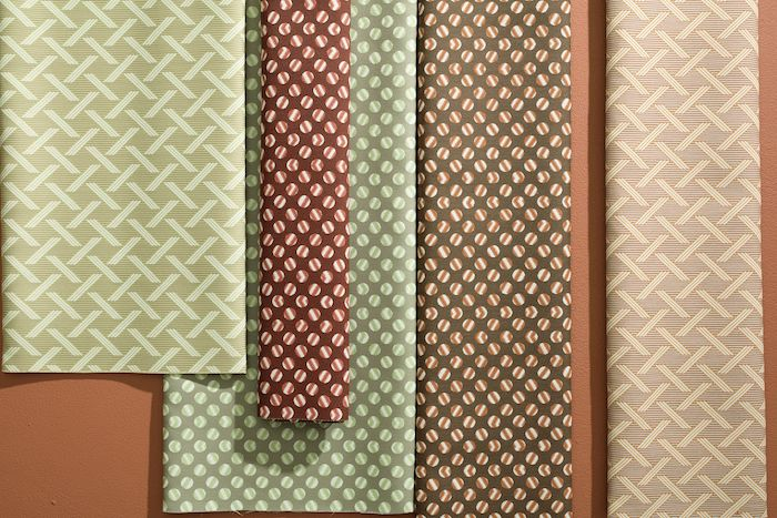 Artistically inspired patterns, Stella and Riley, in complementary hues of Mint, Salmon, and Ruby