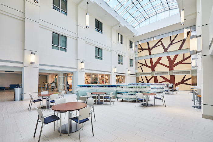 Sun resistant fabric is used in this hospital's atrium to allow abundant natural light without concern for fabrics fading from exposure.