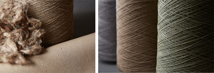Recycled Sunbrella fibers and yarns are manufactured into beautiful neutral eco friendly upholstery fabrics.