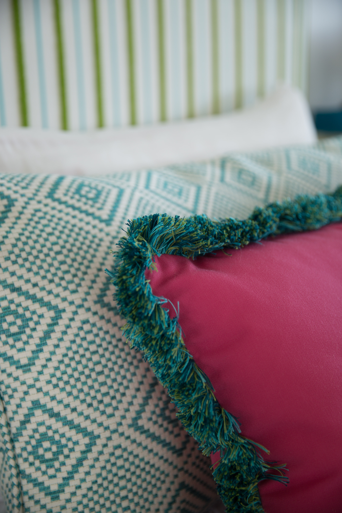 pink and green pillows